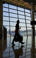 Traveller silhouette in Moscow airport Sheremetyevo, terminal D