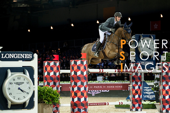 Kevin Staut on For Joy van't Zorgvliet HDC competes during competition Table A Against the Clock at the Longines Masters of Hong Kong on 19 February 2016 at the Asia World Expo in Hong Kong, China. Photo by Li Man Yuen / Power Sport Images