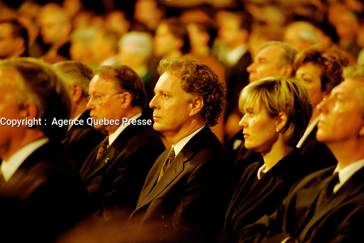 Montreal. CANADA -   May 31, 2000    File Photo  -  Jean Charest attend the funerals of hockey player Maurice Richard  celebrated by Jean-Claude Turcotte  at Notre-Dame Basilica,<br /> <br /> File Photo : Agence Quebec Pressse - Pierre Roussel