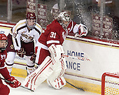 Ryan Fitzgerald (BC - 19), Adam Miller (Wisconsin - 31) - The Boston College Eagles defeated the visiting University of Wisconsin Badgers 9-2 on Friday, October 18, 2013, at Kelley Rink in Conte Forum in Chestnut Hill, Massachusetts.