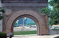 Louis Sullivan: Arch Entrance to Chicago Stock Exchange Building, 1894-1972. Adler & Sullivan Entrance Arch preserved at Art Institute.  Photo '88.