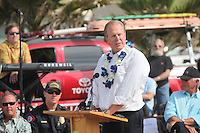 May 23, 2013: Ocean Beach, San Diego, California, USA:  San Diego City Council Member Kevin Falcouner speaks at the San Diego Lifeguard Bronze Memorial Dedication Ceremony.
