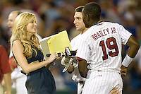 South Carolina's Jackie Bradley Jr. interviewed by ESPN's Erin Andrews after Game 10 of the NCAA Division One Men's College World Series on June 24th, 2010 at Johnny Rosenblatt Stadium in Omaha, Nebraska.  (Photo by Andrew Woolley / Four Seam Images)