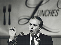 1984 FILE PHOTO - ARCHIVES -<br /> <br /> New Democratic Party Leader Ed Broadbent is receiving encouraging reviews whenever he travels in Quebec but despite promising polls his party might not win a seat in the next federal election<br /> <br /> PHOTO :  Jeff Goode - Toronto Star Archives - AQP