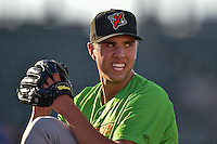 Great Falls Voyagers starting pitcher Alec Hansen (51) warms up in the bullpen before the game against the Ogden Raptors in Pioneer League action at Lindquist Field on August 16, 2016 in Ogden, Utah. Ogden defeated Great Falls 2-1. (Stephen Smith/Four Seam Images)