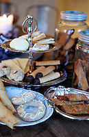 Plates of traditional Swedish festive food are displayed in the kitchen