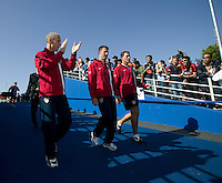 USA head coach Bob Bradley, left, leads the coaching staff into the stadium. The USA defeated China, 4-1, in an international friendly at Spartan Stadium, San Jose, CA on June 2, 2007.