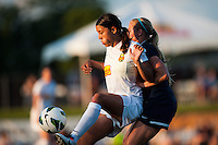 Western New York Flash forward Samantha Kerr (4) controls the ball in front of Sky Blue FC defender Kendall Johnson (5). The Western New York Flash defeated Sky Blue FC 3-0 during a National Women's Soccer League (NWSL) match at Yurcak Field in Piscataway, NJ, on June 8, 2013.