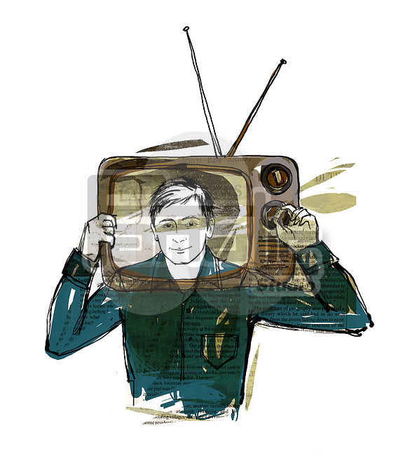 Illustration of man with head in television over white background