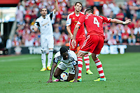 Sun 06 October 2013 Pictured: Nathan Dyer lies on the floor with tha ball uner him as Morgan Schneiderlin tries to kick it out Re: Barclays Premier League Southampton FC  v Swansea City FC  at St.Mary's Stadium, Southampton
