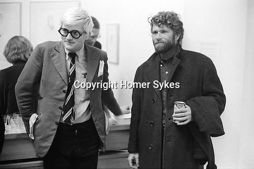 "David Hockney with artist RB Kitaj (Ron Kitaj) at the opening of Hockney opening night show ""Recent Etchings"" at the Kasmin Gallery Bond Street London. 1969"