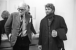 "David Hockney with artist RB Kitaj (Ron Kitaj) at the opening of Hockney opening night show ""Recent Etchings"" at the Kasmin Gallery Bond Street London. 1969"
