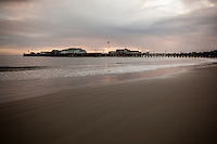 A storm moving in from the west over Stearns Wharf, Santa Barbara, California,