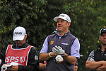 ISPS Handa Wales Open Golf day two :  Lee Westwood waits to tee off on the 14th hole at the Celtic Manor course in Newport, UK this afternoon.