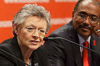 Françoise Barré-Sinoussi speaks at a press conference prior to the opening session of the 20th International AIDS Conference (AIDS 2014) at the Melbourne Convention and Exhibition Centre.<br /> For licensing of this image please go to http://demotix.com