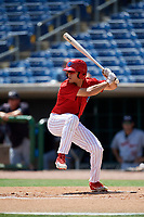 Clearwater Threshers left fielder Adam Haseley (17) at bat during a game against the Lakeland Flying Tigers on May 2, 2018 at Spectrum Field in Clearwater, Florida.  Clearwater defeated Lakeland 7-5.  (Mike Janes/Four Seam Images)