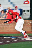 Johnson City Cardinals Malcom Nunez (54) swings at a pitch during game two of the Appalachian League, West Division Playoffs against the Bristol Pirates at TVA Credit Union Ballpark on August 31, 2019 in Johnson City, Tennessee. The Cardinals defeated the Pirates 7-4 to even the series at 1-1. (Tony Farlow/Four Seam Images)