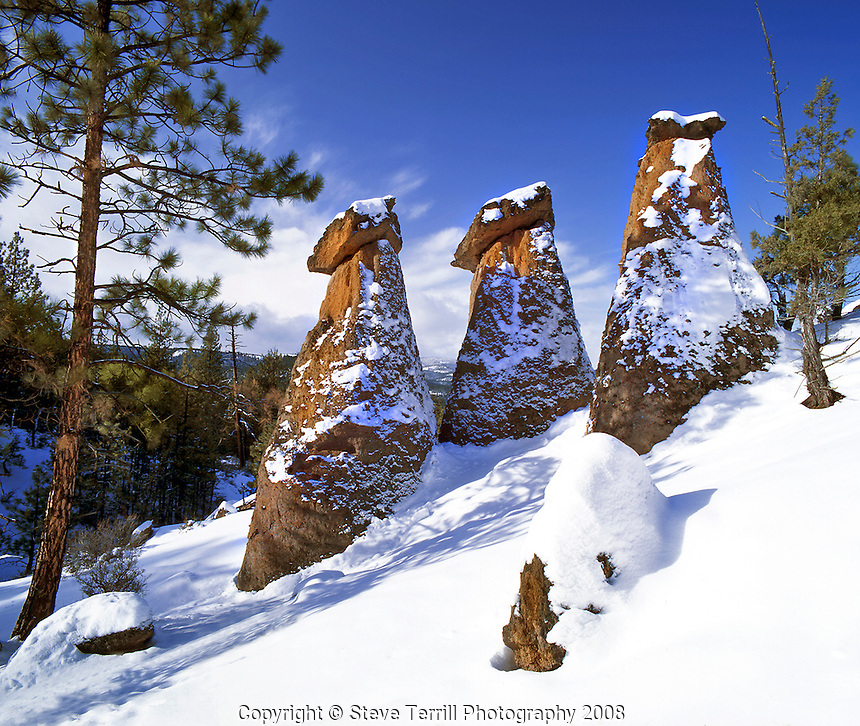 The Balancing Rocks in first snow of winter in Jefferson County Oregon