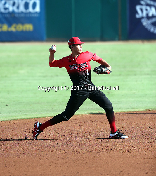 Kevin Jimenez plays in the 2017 Area Code Games on August 6-10, 2017 at Blair Field in Long Beach, California (Bill Mitchell)