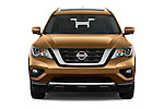 Car photography straight front view of a 2018 Nissan Pathfinder Platinum 5 Door SUV Front View