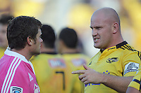 Ben Franks has a chat with referee Nick Briant during the Super Rugby match between the Hurricanes and Southern Kings at Westpac Stadium, Wellington, New Zealand on Saturday, 30 March 2013. Photo: Dave Lintott / lintottphoto.co.nz