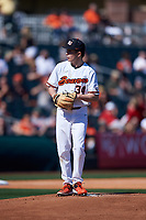 Oregon State Beavers starting pitcher Christian Chamberlain (34) during an NCAA game against the New Mexico Lobos at Surprise Stadium on February 14, 2020 in Surprise, Arizona. (Zachary Lucy / Four Seam Images)