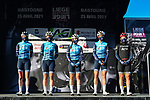 Trek-Segafredo at the team presentations before the start of Liege-Bastogne-Liege Femmes 2021, running 141km from Bastogne to Liege, Belgium. 25th April 2021.  <br /> Picture: A.S.O./Gautier Demouveaux | Cyclefile<br /> <br /> All photos usage must carry mandatory copyright credit (© Cyclefile | A.S.O./Gautier Demouveaux)