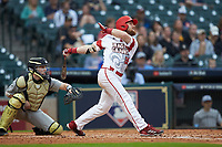 Daniel Lahare (26) of the Louisiana Ragin' Cajuns follows through on his swing against the Vanderbilt Commodores in game five of the 2018 Shriners Hospitals for Children College Classic at Minute Maid Park on March 3, 2018 in Houston, Texas.  The Ragin' Cajuns defeated the Commodores 3-0.  (Brian Westerholt/Four Seam Images)