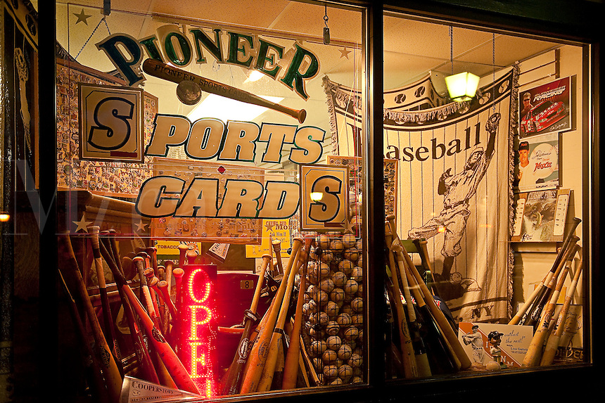 Sports memorabilia shop in Cooperstown (home of the baseball hall of fame), New York