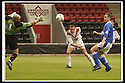 17/8/02               Copyright Pic : James Stewart                     .File Name : stewart-airdrie v stranraer 07.PAUL RONALD GUIDES HIS HEADER PAST CHRIS HILLCOAT TO SCORE THE WINNING GOAL FOR AIRDRIE...James Stewart Photo Agency, 19 Carronlea Drive, Falkirk. FK2 8DN      Vat Reg No. 607 6932 25.Office : +44 (0)1324 570906     .Mobile : + 44 (0)7721 416997.Fax     :  +44 (0)1324 570906.E-mail : jim@jspa.co.uk.If you require further information then contact Jim Stewart on any of the numbers above.........