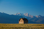 Old barn and Mission Mountains near Ronan, Montana