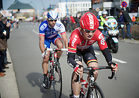 Sean De Bie (BEL/Lotto-Soudal) pushing through for another local lap<br /> <br /> 3 Days of De Panne 2015