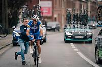 Philippe Gilbert (BEL/Quick Step floors) after a swift bike-switch<br /> <br /> 2018 Binche - Chimay - Binche / Memorial Frank Vandenbroucke (1.1 Europe Tour)<br /> 1 Day Race: Binche to Binche (197km)