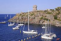 - Capraia island (Tuscan Archipelago) yachts moored in the bay under the Genoese tower<br /> <br /> - isola di Capraia (Arcipelago Toscano), barche ancorate in rada sotto la torre genovese