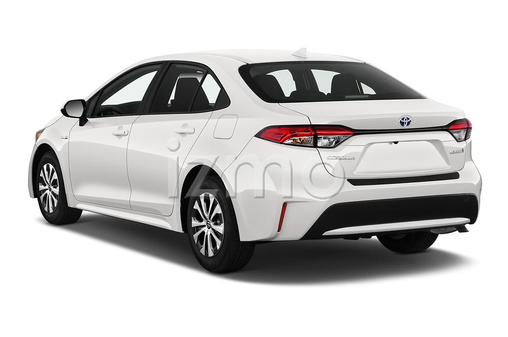 Car pictures of rear three quarter view of 2020 Toyota Corolla-Hybrid LE 4 Door Sedan Angular Rear