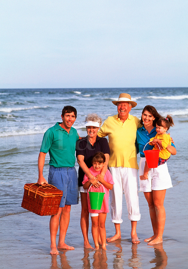 Generational family on the beach