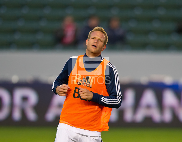 CARSON, CA - March 17, 2012: Vancouver Whitecaps FC defender Jay DeMerit (6) before the Chivas USA vs Vancouver Whitecaps FC match at the Home Depot Center in Carson, California. Final score Vancouver Whitecaps 1, Chivas USA 0.