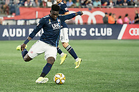 FOXBOROUGH, MA - SEPTEMBER 29: Jalil Anibaba #3 of New England Revolution passes the ball during a game between New York City FC and New England Revolution at Gillettes Stadium on September 29, 2019 in Foxborough, Massachusetts.