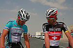 Tom Boonen (BEL) Omega Pharma-Quick Step chats with Fabian Cancellara (SUI) Radioshack-Nissan Trek before the start of the 1st Stage of the 2012 Tour of Qatar running from Umm Slal Mohammed to Doha Golf Club, Doha, Qatar, 5th February 2012 (Photo Eoin Clarke/Newsfile)