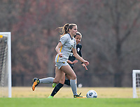 LOUISVILLE, KY - MARCH 13: Mackenzie Aunkst #2 of West Virginia University and Vanessa Kara #45 of Racing Louisville FC chase the ball during a game between West Virginia University and Racing Louisville FC at Thurman Hutchins Park on March 13, 2021 in Louisville, Kentucky.