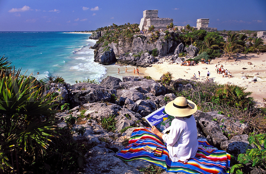 Mexico. Tulum. Woman scetching ruins