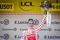 2nd July 2021; Le Creusot, France; MOHORIC Matej (SLO) of BAHRAIN VICTORIOUS in the polka dot jersey on the podium during stage 7 of the 108th edition of the 2021 Tour de France cycling race, a stage of 248,1 kms between Vierzon and Le Creusot