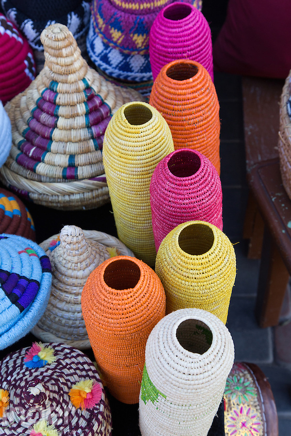 Baskets for sale in the souk at Marrakech, Morocco