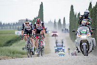 """Eventual stage winner Mauro Schmid (SUI/Qhubeka ASSOS) leading the remaining breakaway trio over the final gravel sector with 9km to go with Alessandro Covi (ITA/UAE-Emirates) & Belgian National Champion Dries De Bondt (BEL/Alpecin-Fenix) in tow.<br /> <br /> 104th Giro d'Italia 2021 (2.UWT)<br /> Stage 11 from Perugia to Montalcino (162km)<br /> """"the Strade Bianche stage""""<br /> <br /> ©kramon"""
