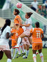 Sky Blue FC  midfielder Yael Averbuch (10) and St Louis Athletica defender Kendall Fletcher (24) go up for a ball during a WPS match at Anheuser-Busch Soccer Park, in St. Louis, MO, June 7, 2009. Athletica won the match 1-0.