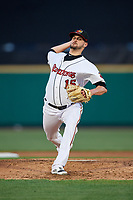 Rochester Red Wings starting pitcher Myles Jaye (15) delivers a pitch during a game against the Pawtucket Red Sox on May 19, 2018 at Frontier Field in Rochester, New York.  Rochester defeated Pawtucket 2-1.  (Mike Janes/Four Seam Images)