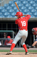 Jon Meola (19) of Toms River East High School in Toms River, New Jersey playing for the Philadelphia Phillies scout team during the East Coast Pro Showcase on July 30, 2014 at NBT Bank Stadium in Syracuse, New York.  (Mike Janes/Four Seam Images)