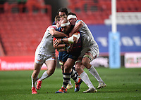 23rd April 2021; Ashton Gate Stadium, Bristol, England; Premiership Rugby Union, Bristol Bears versus Exeter Chiefs; John Afoa of Bristol Bears is wrapped up and stopped