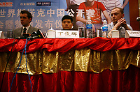 CHINA. Beijing. Ding Junhui (centre) sits bored as media photograph him at the press conference fpr the China Open. Ding won the tournament in 2005 and was automatically a national sporting icon. . Snooker is a cue sport played on a large table measuring 3.6 metres x 1.8 metres. Originating in India in the late 19th Century where it was invented by British Army officers, the game has been a mainstay in British sport over the past few decades. Recently however, popularity of the sport has declined as the sport struggles to compete with other popular sports. The sport is however flourishing in countries such as China, where it is now the second most popular sport, behind Basketball. In a country where the  players are treated like movie-stars, China may be the great hope for the sports recovery. 2009