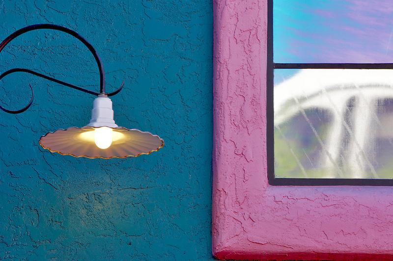 Colorful lamplight with window in La Placita Village. Tucson. Arizona